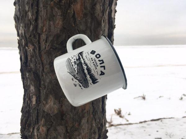 Кружка эмалированная волжского бренда «Точка на карте» (Волга)