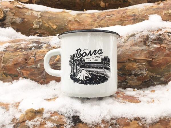 Кружка эмалированная волжского бренда «Точка на карте» (Волга палатка)